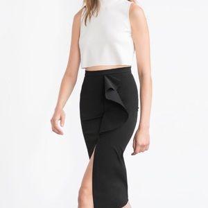 Zara Side Slit Ruffle Pencil Skirt